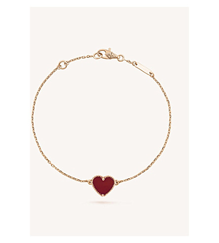 VAN CLEEF & ARPELS Sweet Alhambra gold and carnelian heart bracelet (Pink+gold