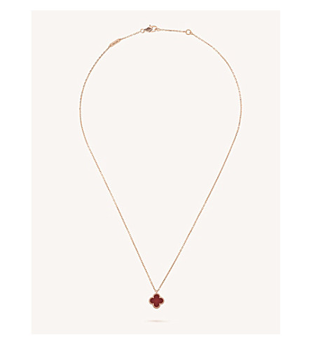 VAN CLEEF & ARPELS Sweet Alhambra gold and carnelian necklace (Pink+gold
