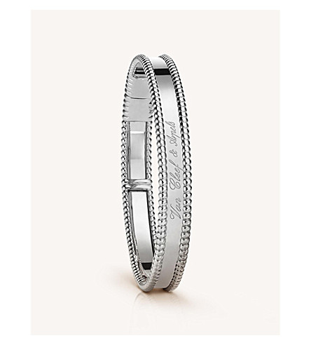 VAN CLEEF & ARPELS Perlée 标志性的金中等手链 (白 + 金