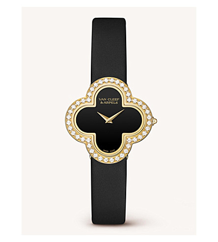 VAN CLEEF & ARPELS Vintage Alhambra gold, diamond and onyx watch (Yellow+gold