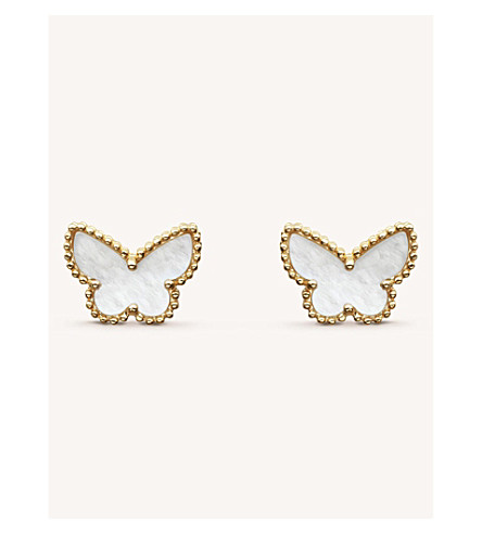 VAN CLEEF & ARPELS Sweet Alhambra gold and mother-of-pearl stud earrings (Yellow+gold