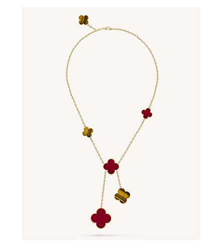 VAN CLEEF & ARPELS Magic Alhambra gold, carnelian and tiger's eye necklace (Yellow+gold