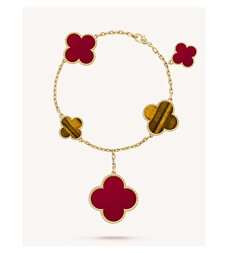 VAN CLEEF & ARPELS Magic Alhambra gold, carnelian and tiger's eye bracelet (Yellow+gold