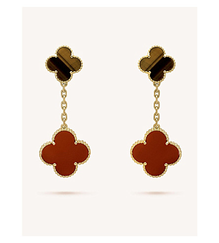 VAN CLEEF & ARPELS Magic Alhambra gold, carnelian and tiger's eye earrings (Yellow+gold
