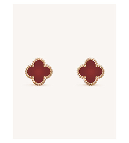 VAN CLEEF & ARPELS Sweet Alhambra gold and carnelian stud earrings (Pink+gold