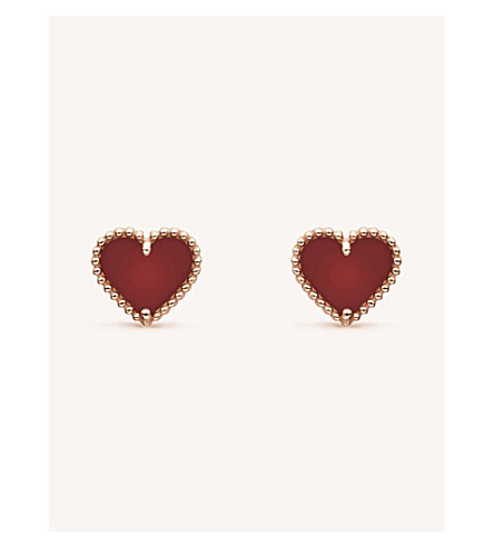 VAN CLEEF & ARPELS Sweet Alhambra gold and carnelian stud earrings (Pink+gold