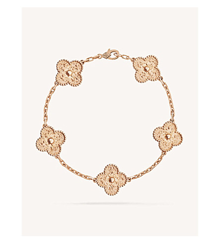 VAN CLEEF & ARPELS Vintage Alhambra rose-gold bracelet (Pink+gold