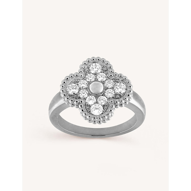 VAN CLEEF & ARPELS | Vintage Alhambra White-Gold And Diamond Ring | Goxip