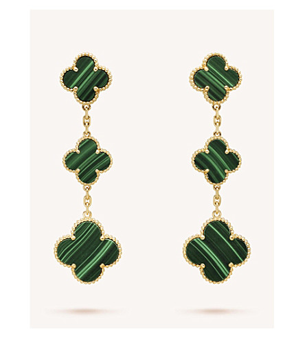 VAN CLEEF & ARPELS Magic Alhambra gold and malachite earrings (Yellow+gold
