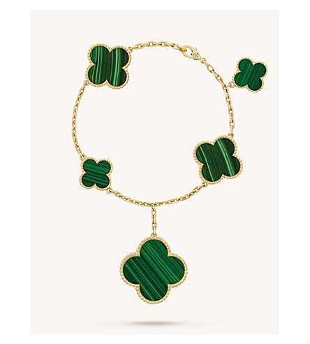 VAN CLEEF & ARPELS Magic Alhambra gold and malachite bracelet (Yellow+gold
