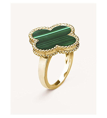 VAN CLEEF & ARPELS Magic Alhambra yellow-gold and malachite ring (Yellow+gold