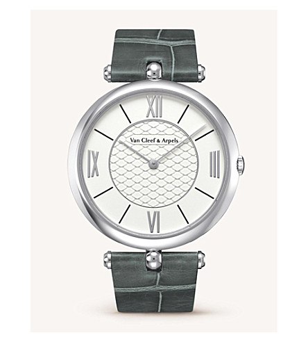 VAN CLEEF & ARPELS Pierre Arpels leather, gold and diamond watch (White+gold