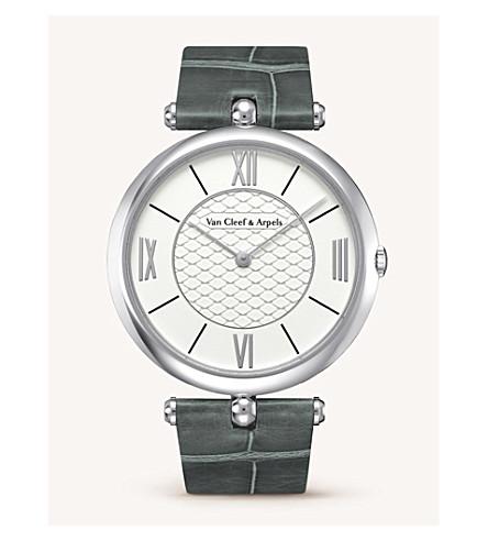 VAN CLEEF & ARPELS 皮埃尔 Arpels 皮革, 黄金和钻石手表 (白色 + 金色