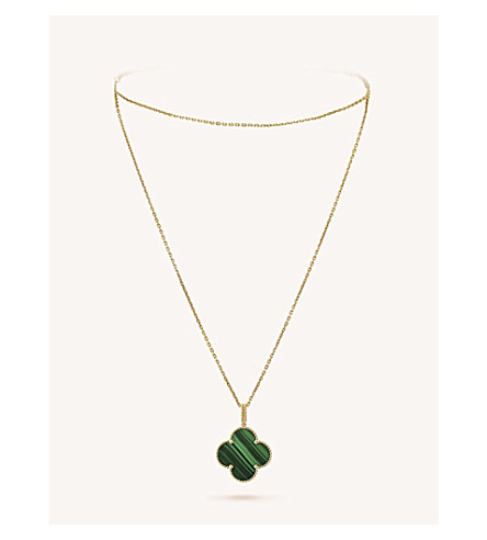 VAN CLEEF & ARPELS Magic Alhambra gold and malachite necklace (Yellow+gold
