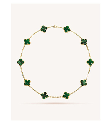 VAN CLEEF & ARPELS Vintage Alhambra gold and malachite necklace (Yellow+gold