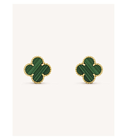 VAN CLEEF & ARPELS Vintage Alhambra gold and malachite earrings (Yellow+gold