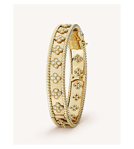 VAN CLEEF & ARPELS Perlée Clover gold and diamond medium bracelet (Yellow+gold