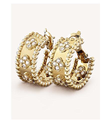 VAN CLEEF & ARPELS Perlée 三叶草金和钻石箍耳环 (黄 + 金