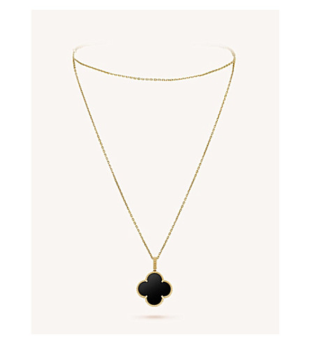 VAN CLEEF & ARPELS Magic Alhambra gold and onyx necklace (Yellow+gold