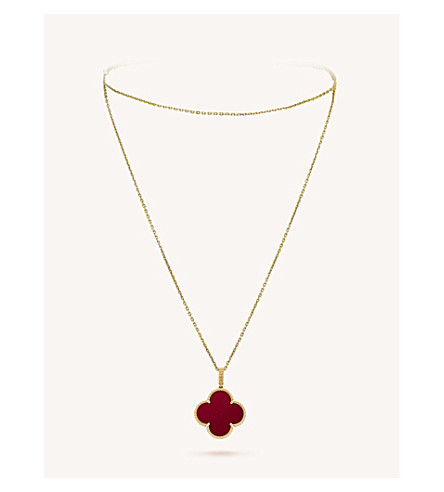 VAN CLEEF & ARPELS Magic Alhambra gold and carnelian necklace (Yellow+gold