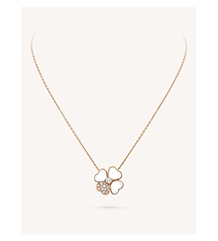 VAN CLEEF & ARPELS Cosmos gold, mother-of-pearl and diamond clip pendant (Pink+gold