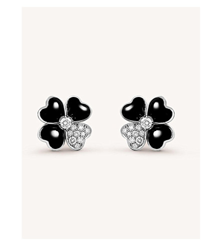 VAN CLEEF & ARPELS Cosmos gold, onyx and diamond earrings (White+gold