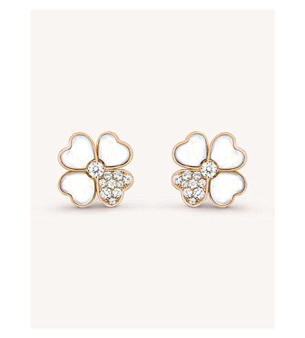 VAN CLEEF & ARPELS Cosmos gold, mother-of-pearl and diamond earrings (Pink+gold