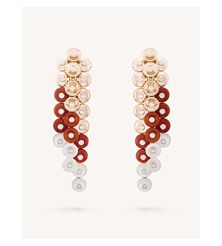 VAN CLEEF & ARPELS Bouton d'or gold, carnelian, mother-of-pearl and diamond earrings (Pink+gold