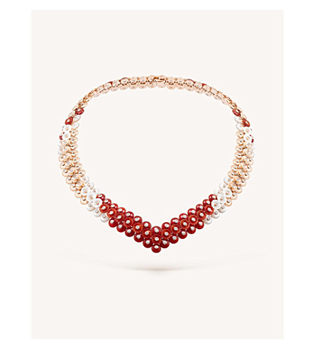 VAN CLEEF & ARPELS Bouton d'or gold, carnelian, mother-of-pearl and diamond necklace (Pink+gold