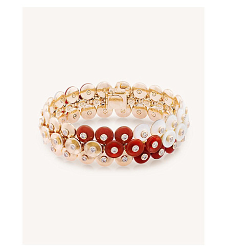 VAN CLEEF & ARPELS Bouton d'or small gold, carnelian, mother-of-pearl and diamond bracelet (Pink+gold
