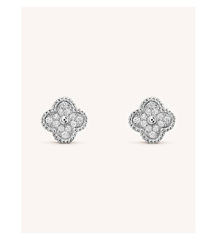 VAN CLEEF & ARPELS Sweet Alhambra gold and diamond stud earrings (White+gold