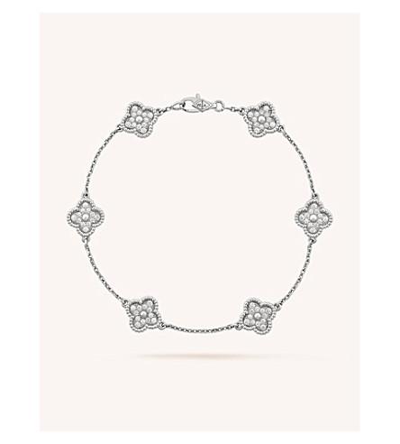 VAN CLEEF & ARPELS 甜阿罕布拉金和钻石手镯 (白 + 金