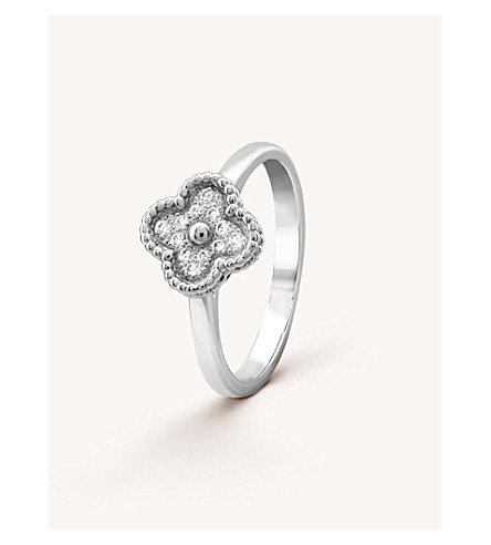 VAN CLEEF & ARPELS Sweet Alhambra white-gold and diamond ring (White+gold
