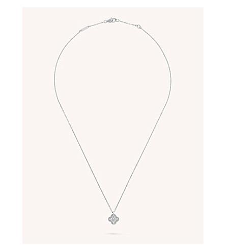 VAN CLEEF & ARPELS 甜阿罕布拉金和钻石项链 (白 + 金