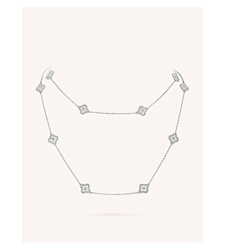 VAN CLEEF & ARPELS Sweet Alhambra gold and diamond necklace (White+gold