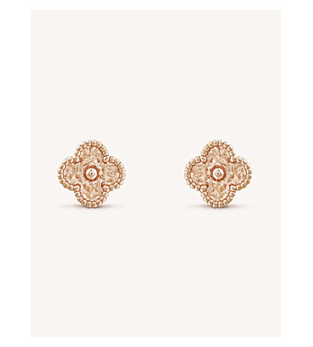 VAN CLEEF & ARPELS Sweet Alhambra gold stud earrings (Pink+gold