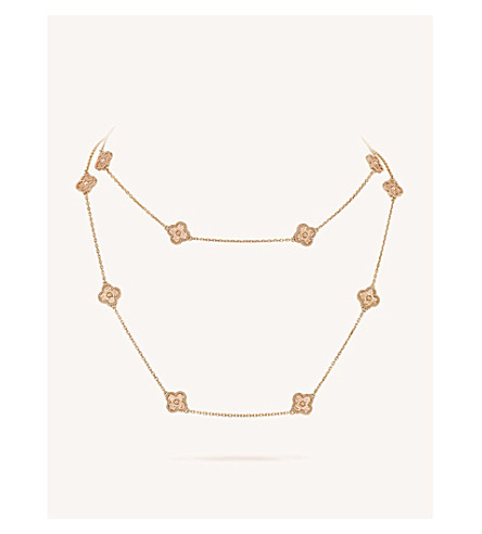 VAN CLEEF & ARPELS Sweet Alhambra gold long necklace (Pink+gold