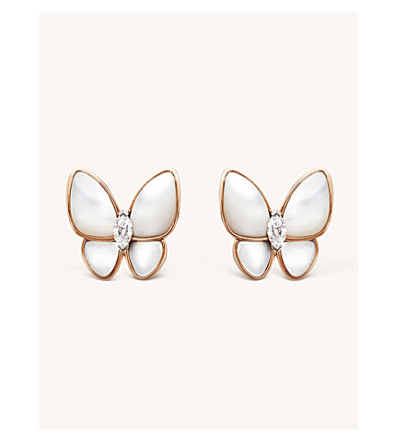 VAN CLEEF & ARPELS Two Butterfly gold, diamond and mother-of-pearl earrings (Pink+&+white+gold