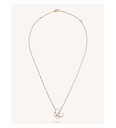 VAN CLEEF & ARPELS 两只蝴蝶金, 钻石和珍珠母吊坠 (粉红色 + + + 白色 + 金色