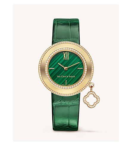 VAN CLEEF & ARPELS Charms gold, diamonds and malachite watch (Yellow+gold