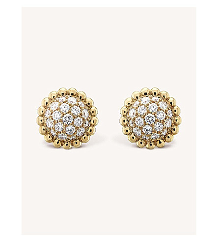 VAN CLEEF & ARPELS Perlée Diamants gold and diamond earrings (Yellow+gold