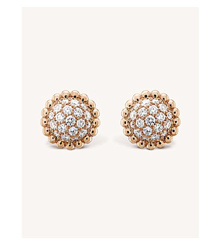 VAN CLEEF & ARPELS Perlée Diamants gold and diamond earrings (Pink+gold