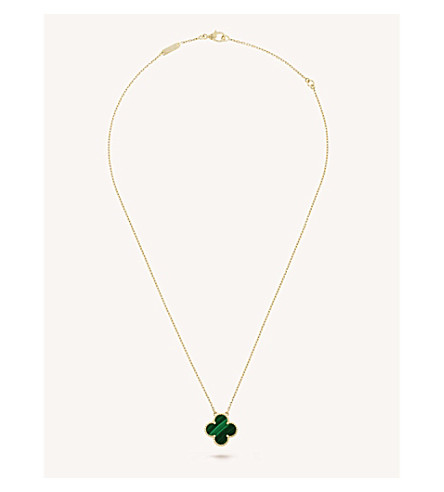 VAN CLEEF & ARPELS Vintage Alhambra gold and malachite pendant (Yellow+gold