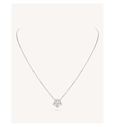 VAN CLEEF & ARPELS Lotus Openwork white-gold and diamond pendant necklace