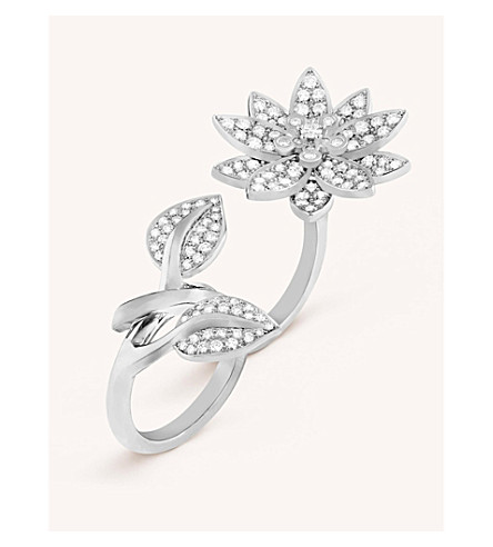 VAN CLEEF & ARPELS Lotus Between the Finger white gold and diamond ring (Platinum