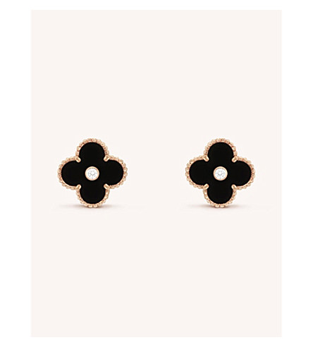 VAN CLEEF & ARPELS Vintage yellow-gold and diamond Alhambra earrings (Yellow+gold