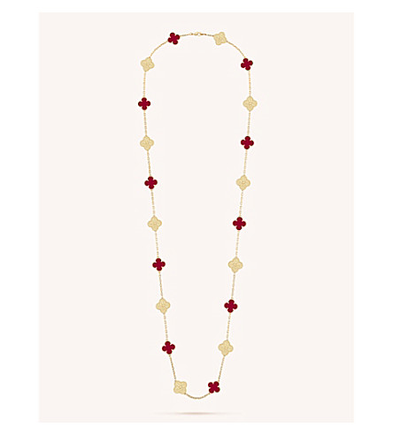 VAN CLEEF & ARPELS Vintage Alhambra yellow-gold and carnelian necklace