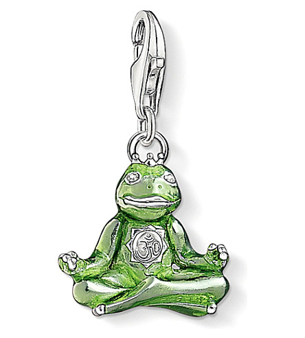 THOMAS SABO Charm club silver enamel and zirconia yoga frog charm
