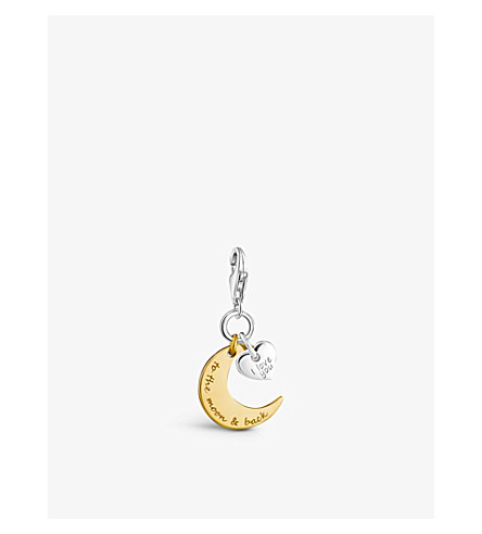 THOMAS SABO Charm Club engraved 18ct yellow gold and sterling silver moon and star charm