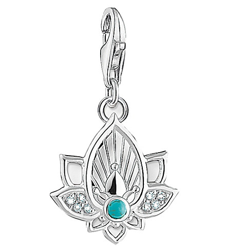 THOMAS SABO Charm Club sterling silver and cubic zirconia lotus flower charm